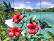 Hibiscus Hummers   - Tile Mural