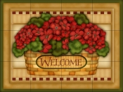 Hydrangea Welcome Basket   - Tile Mural