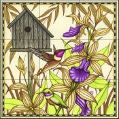 Hummingbird and Orchids   - Tile Mural
