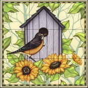 Robin and Sunflowers   - Tile Mural