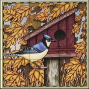 Blue Jay and Leaves   - Tile Mural