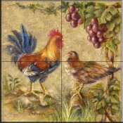 Rooster Duo  - Tile Mural