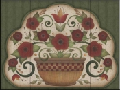 AA-Country Flowers in Pot on Green  - Tile Mural