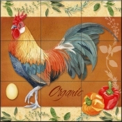 LW-Rooster Organic  - Tile Mural