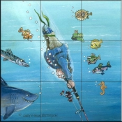 GP- Deep Sea Fishing  - Tile Mural