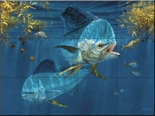 Dolphin in the Weeds-DR - Tile Mural