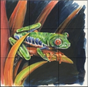 Costa Rican Leaping Frog    - Tile Mural