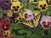 Butterflies and Pansies-WV - Tile Mural