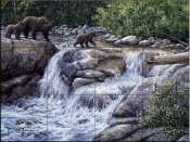 Entiat Falls-Grizzly Family-JT - Tile Mural