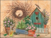 Birdhouse and Herbs-MT - Tile Mural