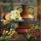 Cheese and Grapes II-Js - Tile Mural