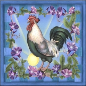 RS-Morning Glory Rooster I - Tile Mural