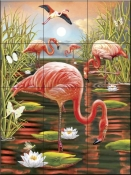 Flamingos II-RS - Tile Mural