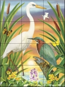 Green and white Herons-RS - Tile Mural
