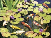 Koi Pond IV-RS - Tile Mural