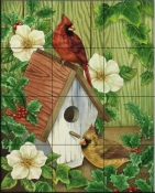 Cardinals and Holly    - Tile Mural