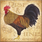 Roosters at Sunrise C-LC - Tile Mural