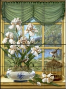 Irises By The Lake-JK - Tile Mural