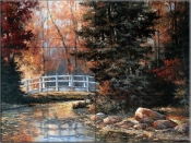 Footbridge in the Woods - TC - Tile Mural
