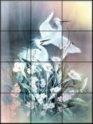 Egrets and Calla Lilies - TC - Tile Mural
