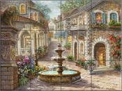 Cobblestone Fountain - NB - Tile Mural