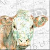 DL - Animal Faces Cow - Tile Mural