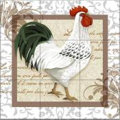 Elegant Rooster Right - TW - Tile Mural