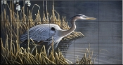 Stalking the Edge Heron    - Tile Mural