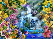 Butterfly Waterfall    - Tile Mural