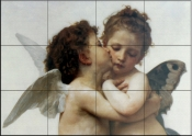 The First Kiss c. 1873    - Tile Mural