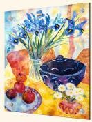 Irises and Dish Of Apples - Solo Tile